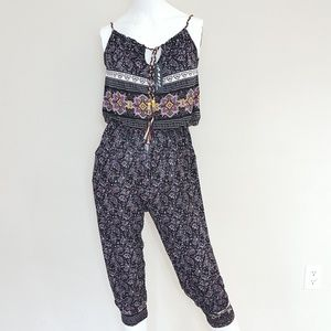 Jumpsuit Sleeveless Cinched Waist Size S/M Paisley